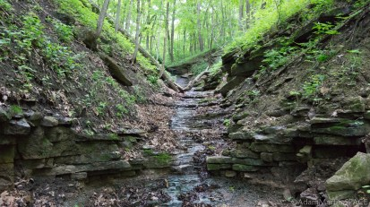 Wyalusing State Park - Stream feeding falls at Pictured Rock Cave
