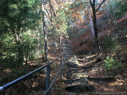 Mill Bluff State Park - Climbing stairs to the top