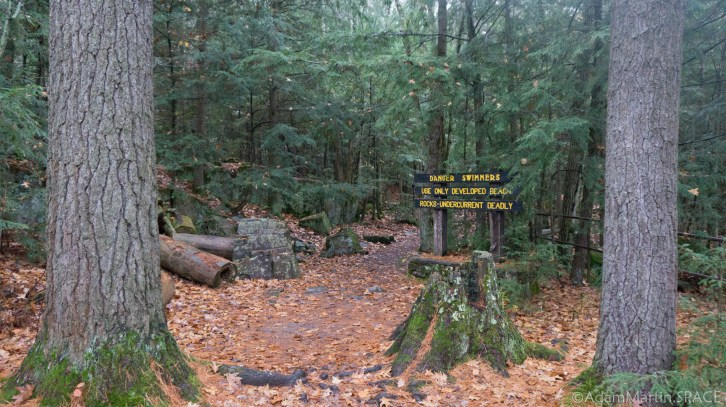 Dells of the Eau Claire River - Danger sign on trail