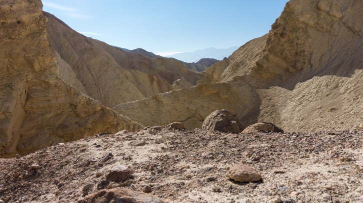 Death Valley - View down Golden Canyon near base of Red Cathedral