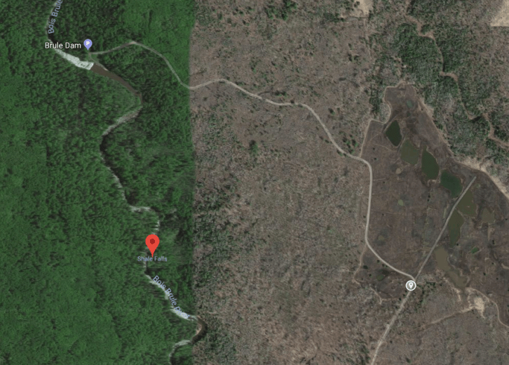 Shale Falls (Failed) - Google map showing falls location