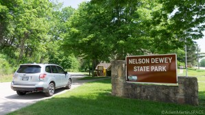 Nelson Dewey State Park - Welcome sign and my new ride