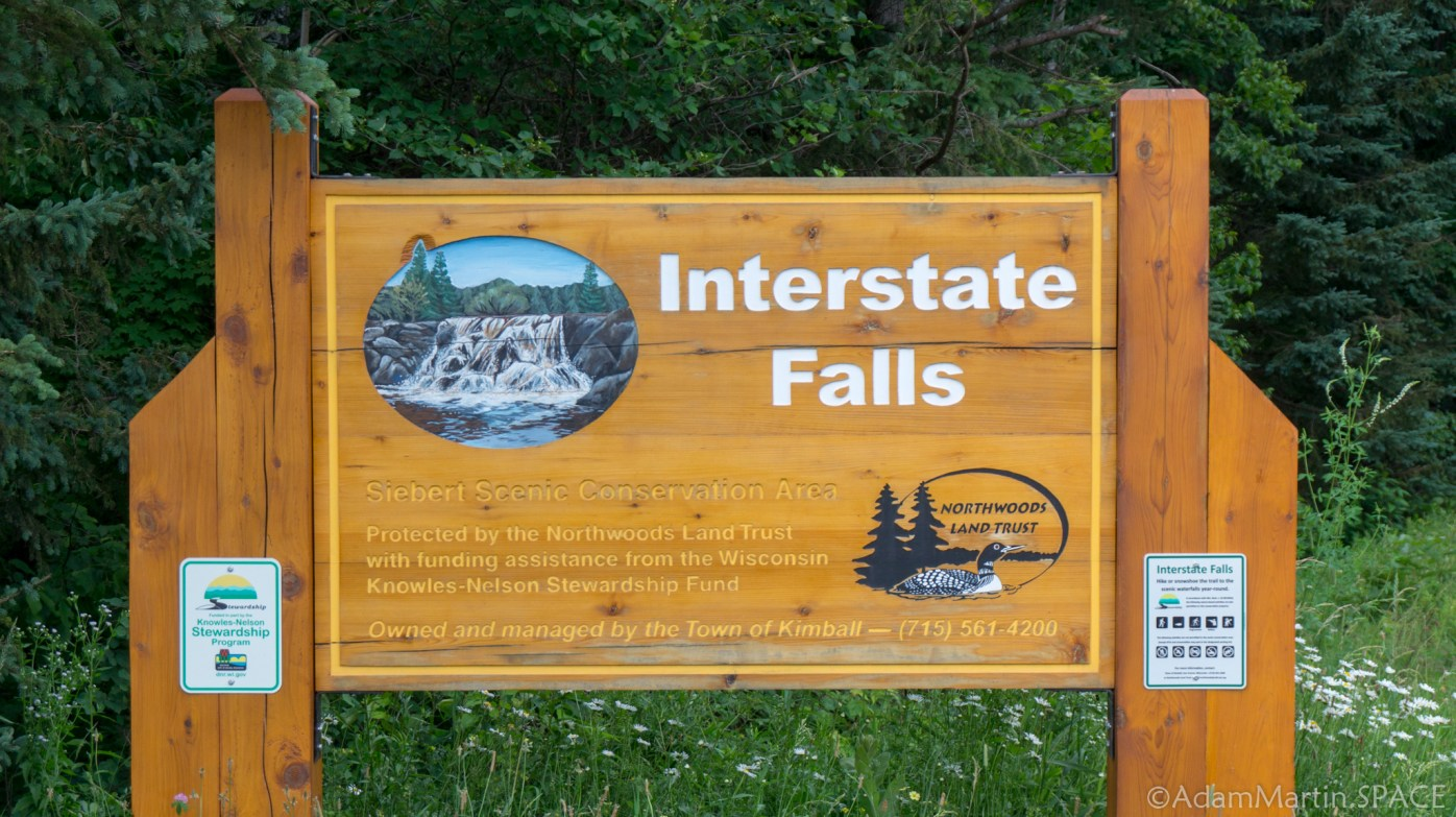 Interstate Falls - Entrance sign