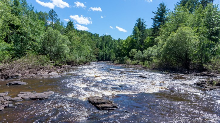 Saxon Falls - View down the Montreal River above the falls