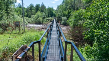 Saxon Falls - Hydro water pipe and bridge across the Montreal River