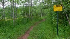 Orienta Falls - Warning sign near trailhead