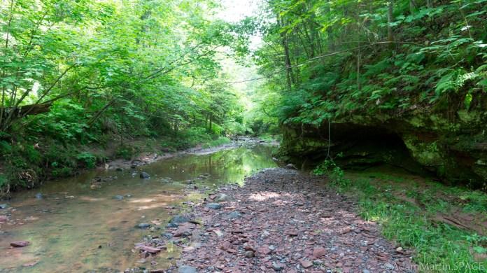 Twin Falls - Hiking through the creek