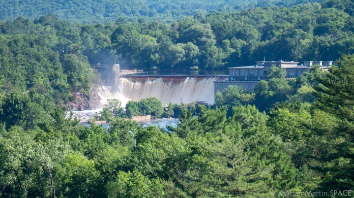 Interstate State Park - Distant view of St. Croix Falls hydroelectric dam on St. Croix River