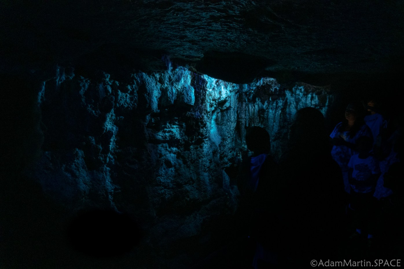 Cave Of The Mounds - Blacklight Turning On Mineral Fluorescence