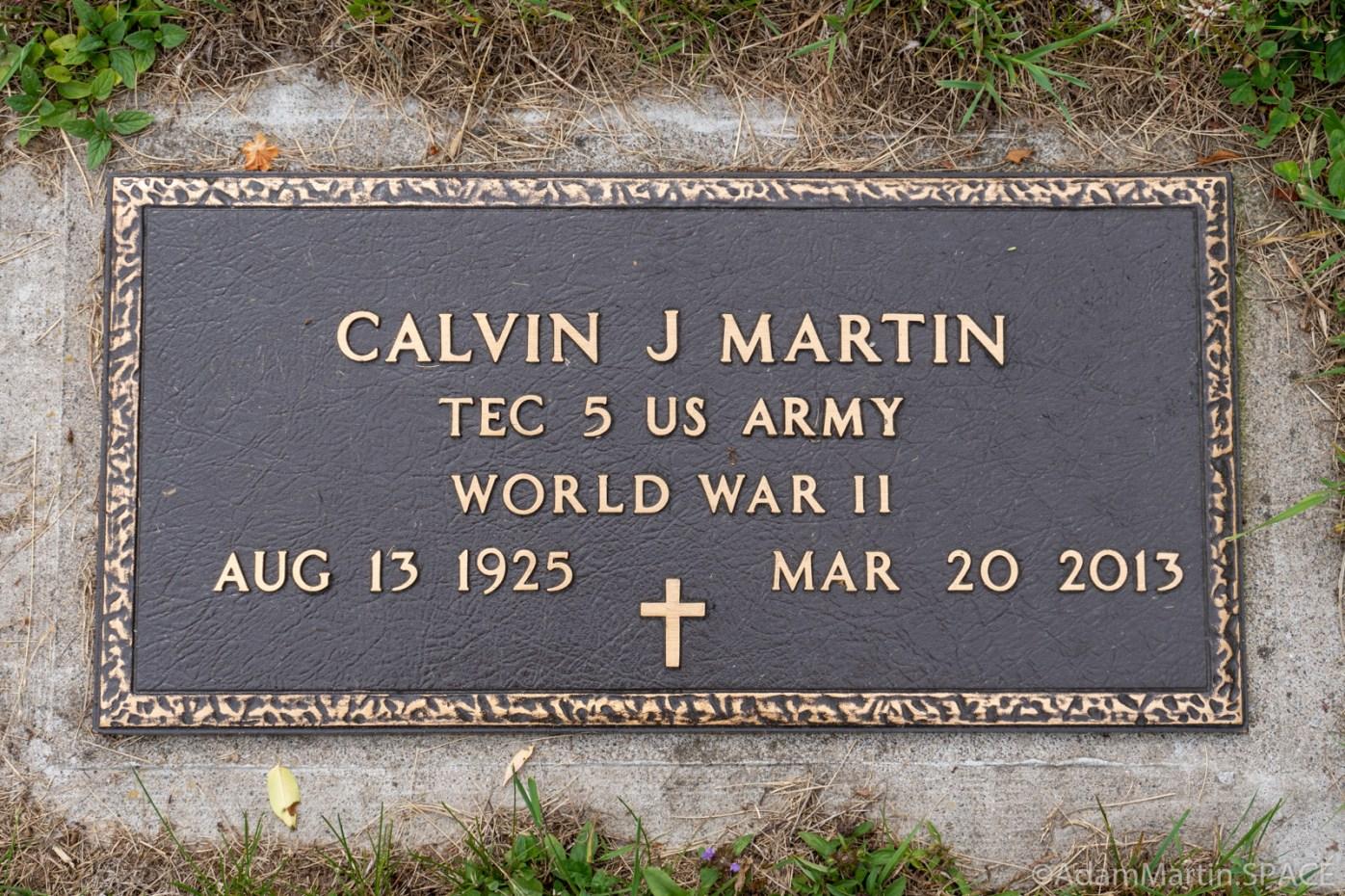 Martin Cemetery - Calvin J Martin Sr. bronze Army service marker