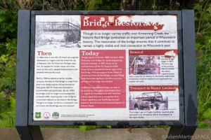 "Armstrong Creek Rapids - ""Bridge Restoration"" sign"