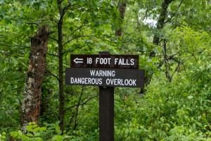 Eighteen Foot Falls - Trail sign