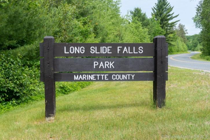 Long Slide Falls - County park entrance sign
