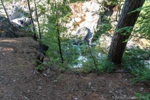 Potato River Dalles - Faint glimpse of falls through the trees