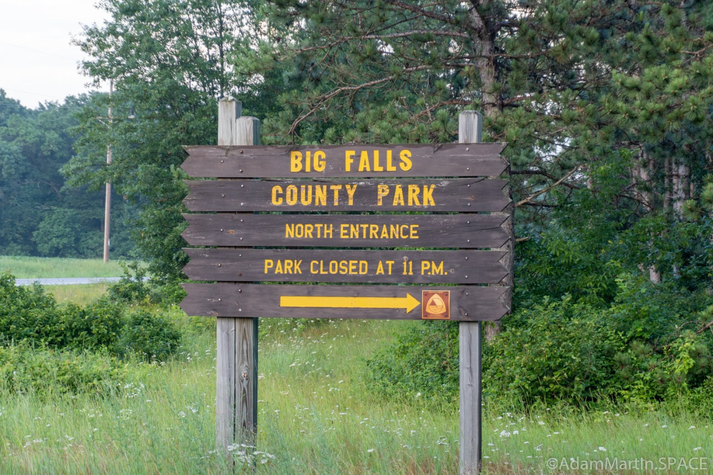 Big Falls County Park - Entrance Sign