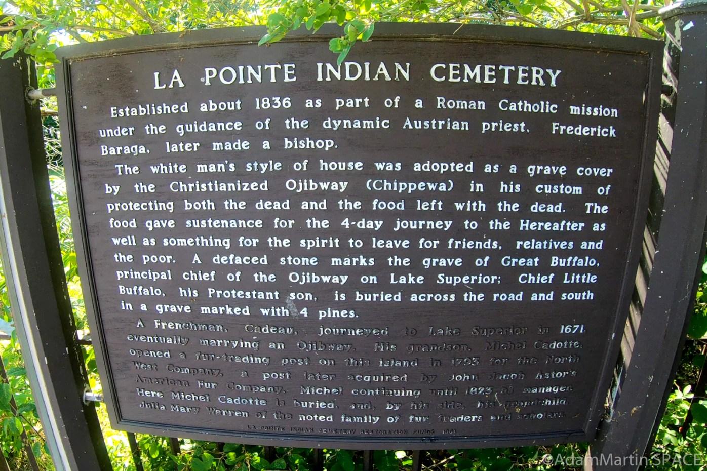 La Pointe Indian Cemetery sign