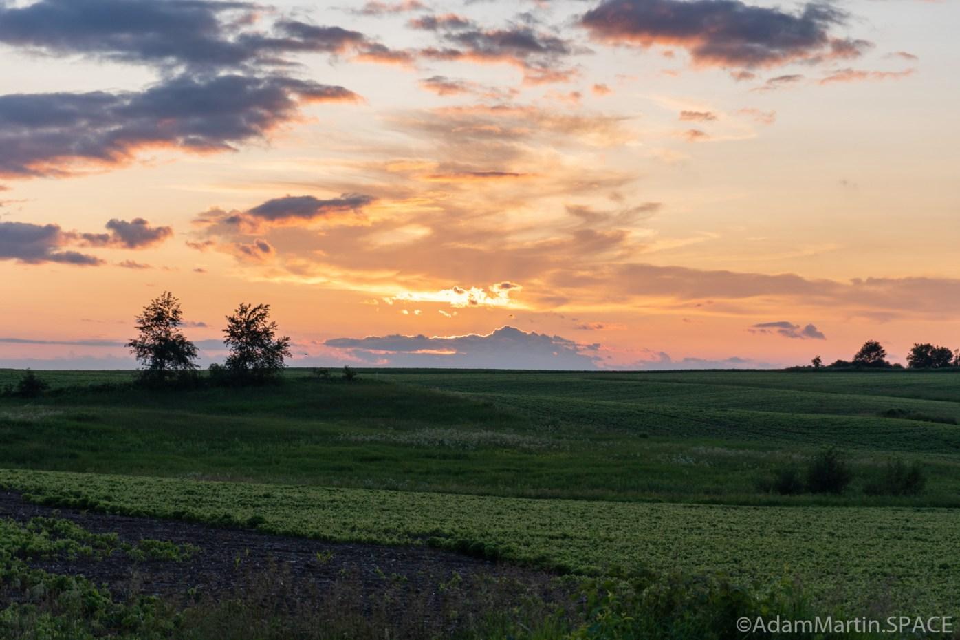 Sunset over fields near Wilson, Wisconsin