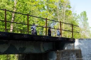 Baird Creek - Hikers crossing railroad tracks