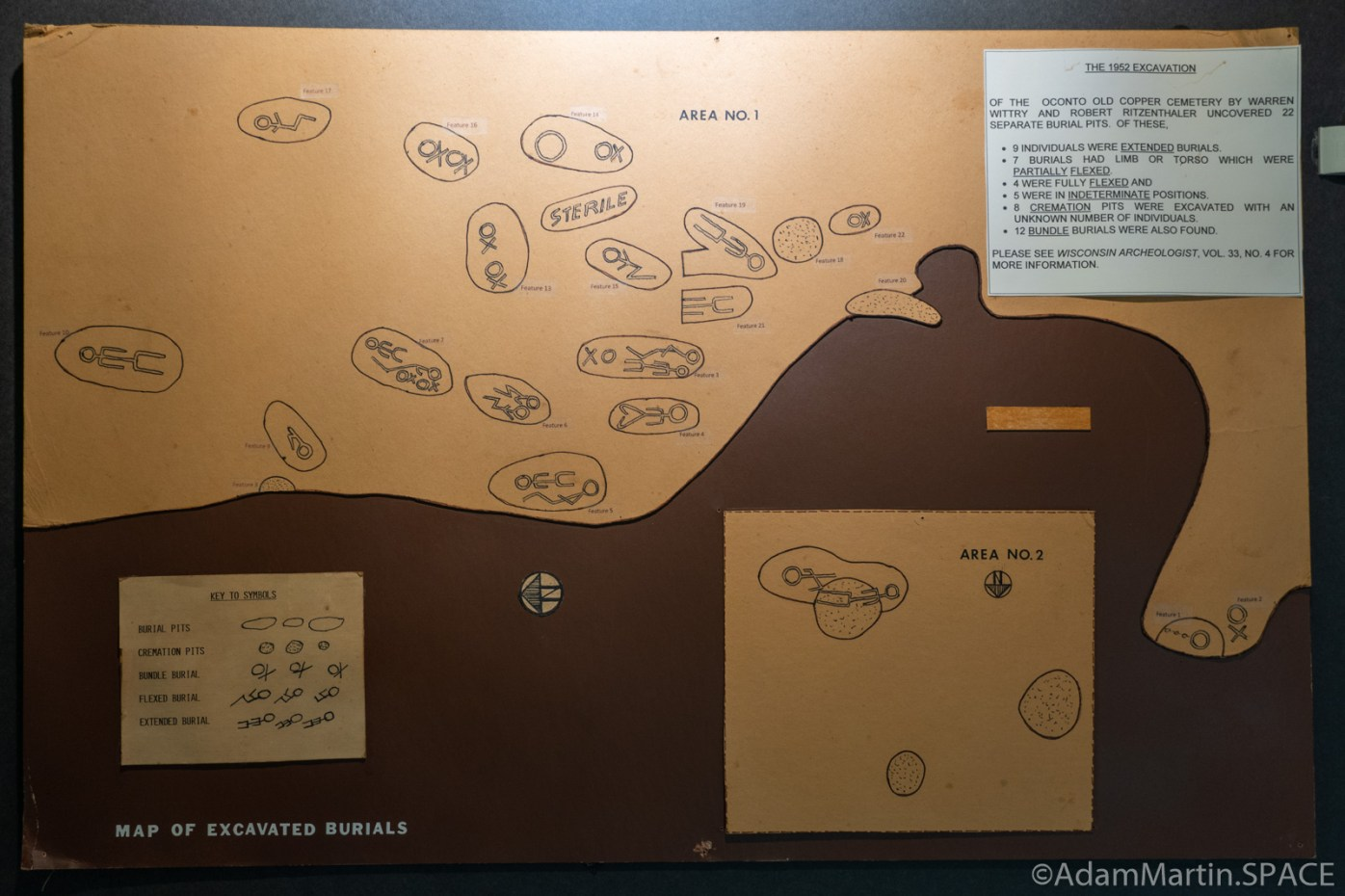 Copper Culture State Park - Map of excavation at Old Copper Culture cemetery