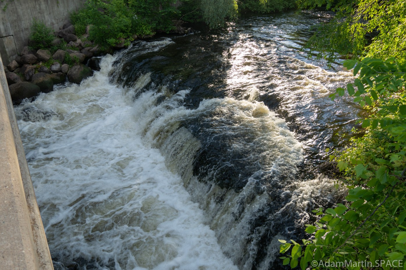 Waupaca Falls - View from right side of Water Street bridge