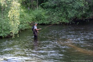Waupaca Falls - Trout fisherman in the Waupaca River
