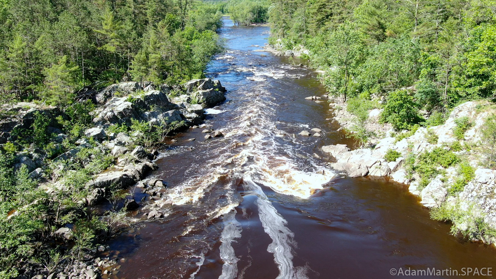Black River Falls - Hwy K Rapids - Aerial view of largest drop looking downstream