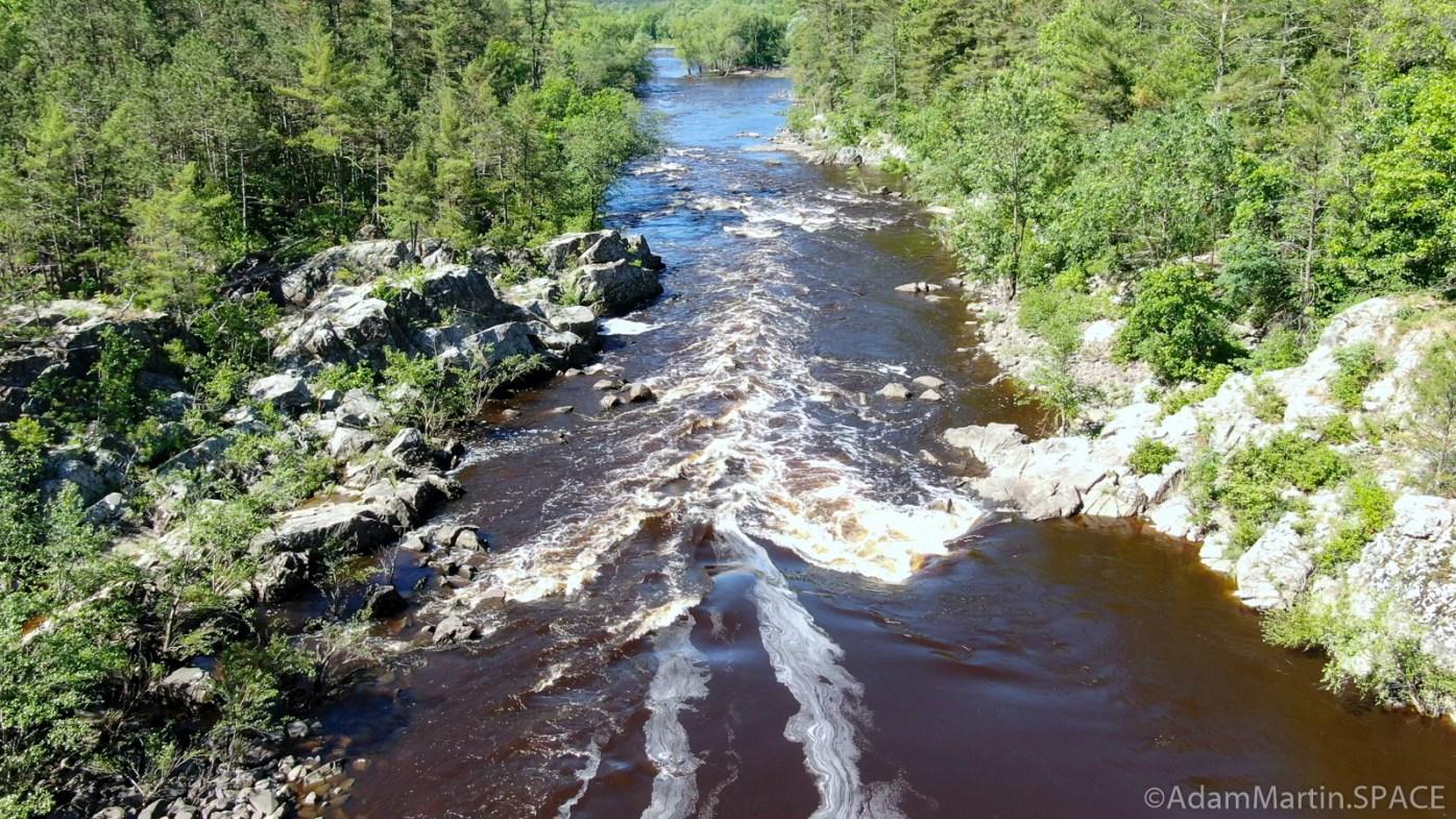 Black River Falls - Hwy K Rapids - Aerial view of largest drop looking downstream