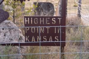 Mount Sunflower - Highest Point In Kansas sign