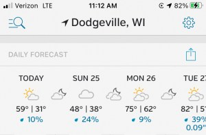 Cold temperatures overnight at Governor Dodge State Park