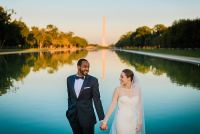 bride and groom at Lincoln Memorial Wedding by Washington DC Wedding Photographer Adam Mason