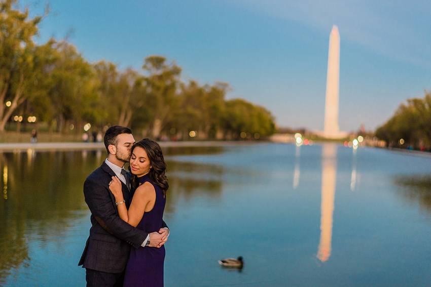 unique photo at the reflecting pool in washington DC by Washington DC Wedding Photographer Adam Mason