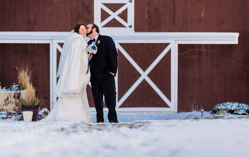 snowy wedding photos at Barn at Klines Mill by Washington DC Wedding Photographer Adam Mason
