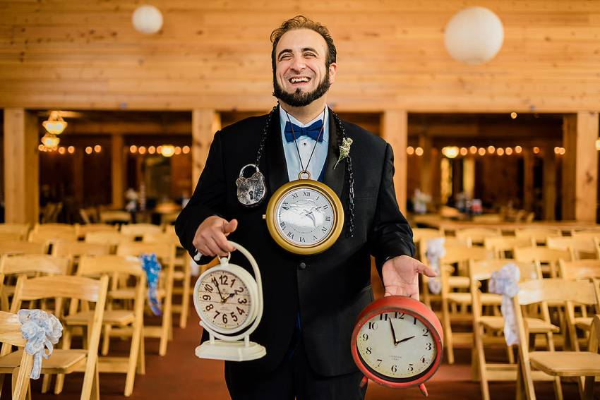 cute and funny groom gifts for late groom by Washington DC Wedding Photographer Adam Mason