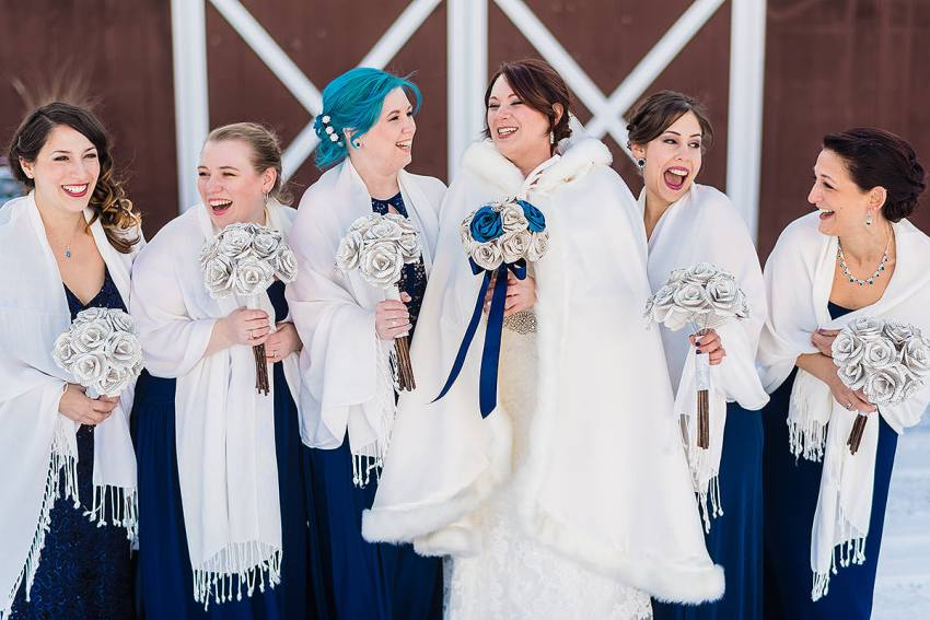 snowy wedding party photos at Barn at Klines Mill wedding by Washington DC Wedding Photographer Adam Mason
