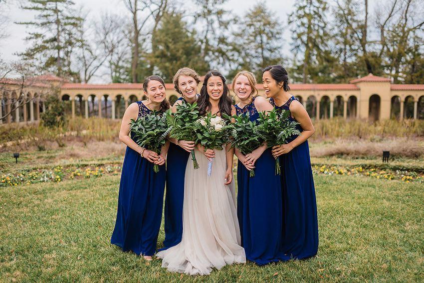 LuLu's Fashion Lounge bridesmaids dresses and flowers at st francis hall wedding by Washington DC Wedding Photographer Adam Mason