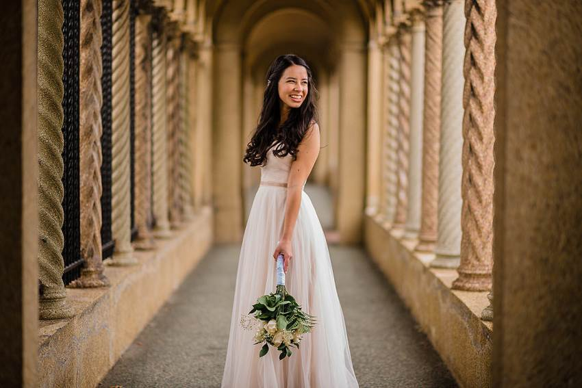 bridal portrait in BHLDN dress by Vatana Watters at St Francis Hall by Washington DC Wedding Photographer Adam Mason