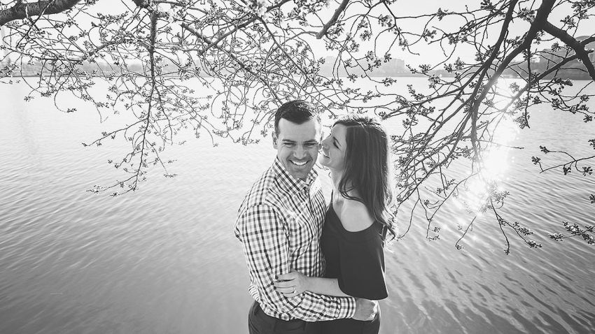 fun cherry blossoms photos at the Tidal Basin by Washington DC Wedding Photographer Adam Mason