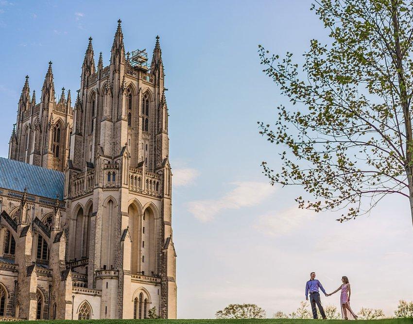 National Cathedral Engagement session by Washington DC Wedding Photographer Adam Mason