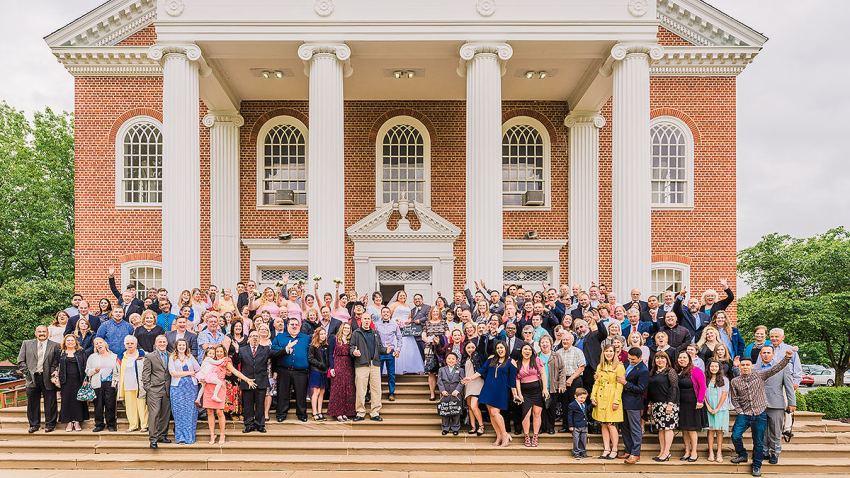 group photo of everyone at a wedding by Washington DC Wedding Photographer Adam Mason