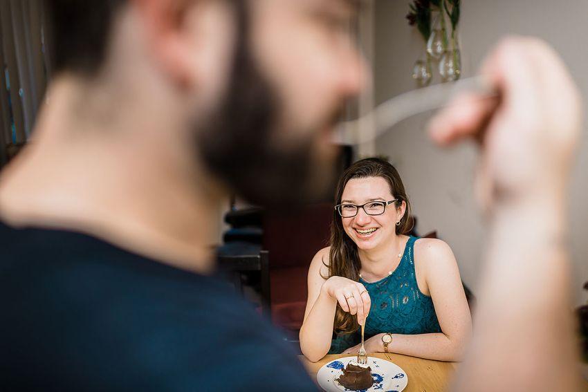at home engagement session lifestyle photos by Washington DC Wedding Photographer Adam Mason