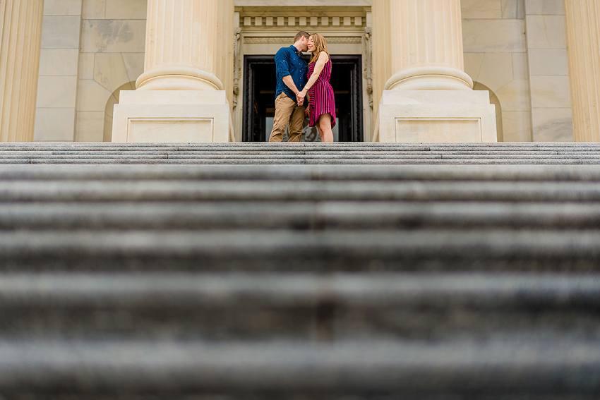 engagement photos on the U.S. Capitol Steps in Washington DC by Washington DC Wedding Photographer Adam Mason