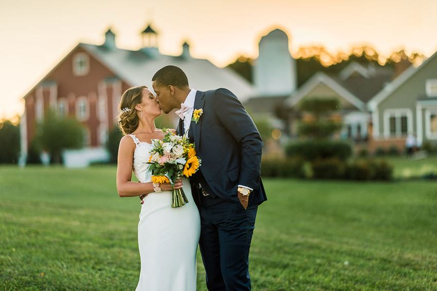 outdoor sunset wedding photos at wyndridge farm by Washington DC Wedding Photographer Adam Mason