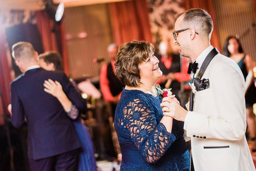 grooms dancing with mothers at hotel monaco wedding by Washington DC Wedding Photographer Adam Mason