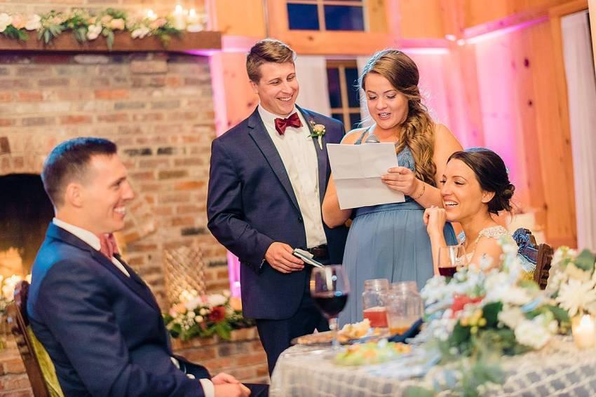 tearful speeches and toasts at at thousand acre farm wedding by Washington DC Wedding Photographer Adam Mason