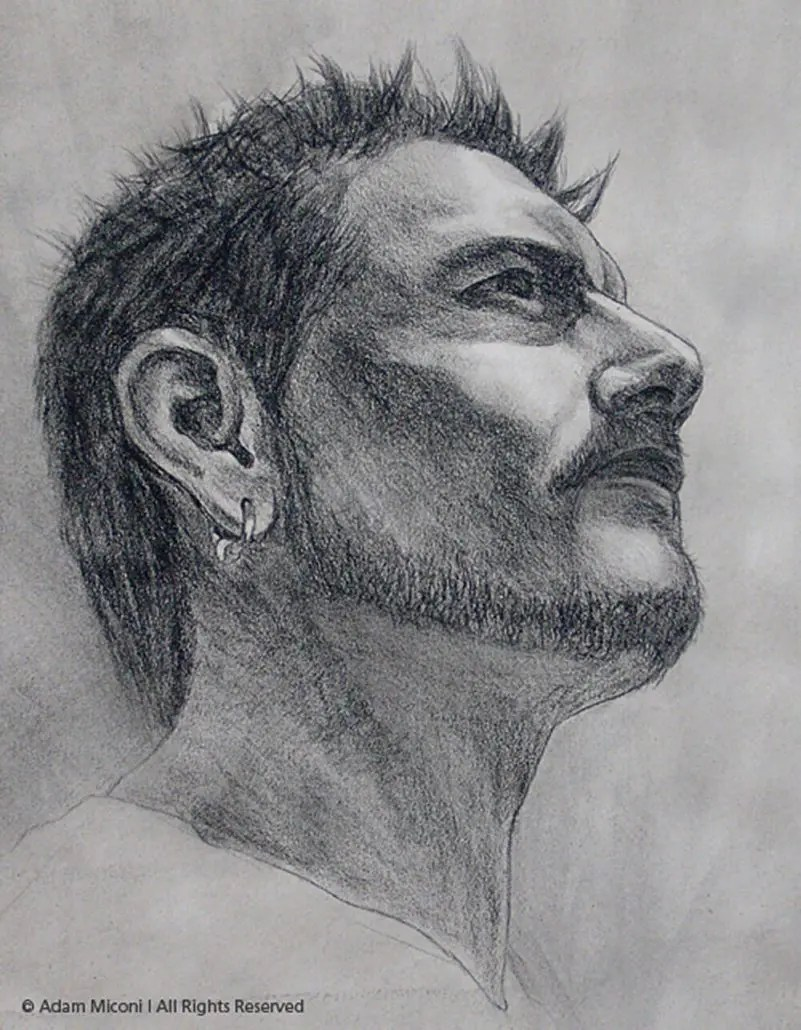 Adam Miconi self portrait drawing in charcoal