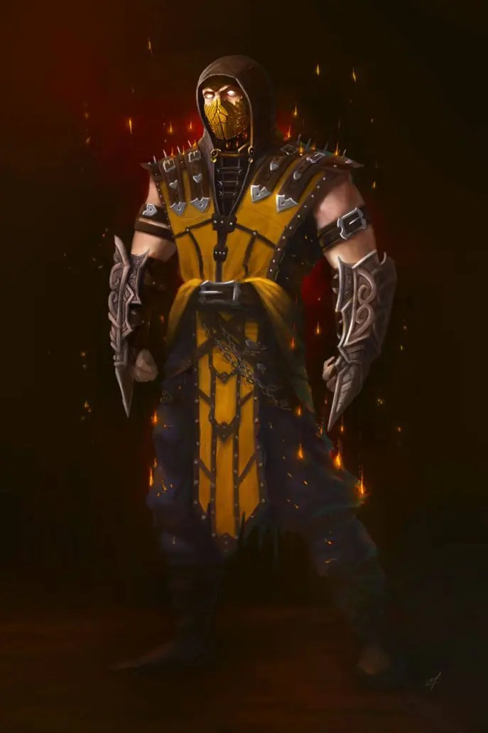 Mortal Kombat Scorpion concept art by Adam Miconi
