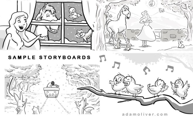 Storyboards for a classically styled music video