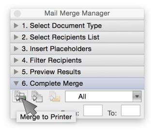 Word Mail Merge - Merge to Printer
