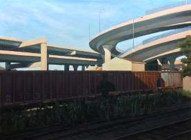 "untitled (overpass) : Oil on board. 18""x24"". 2015 (SOLD)"