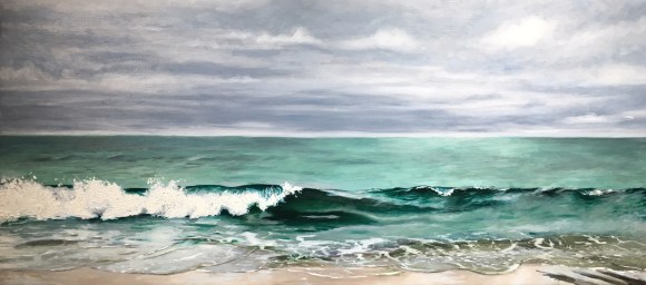 """untitled (waves) : Oil on linen. 48"""" x 22"""" 2016"""